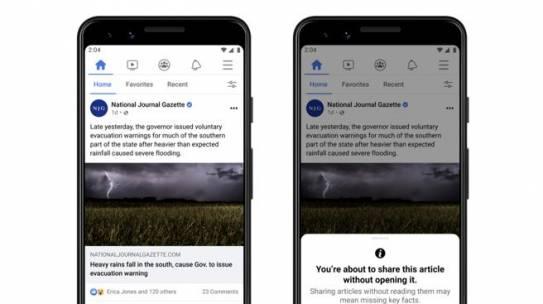 Facebook: arriva l'avviso di lettura per contrastare le fake news